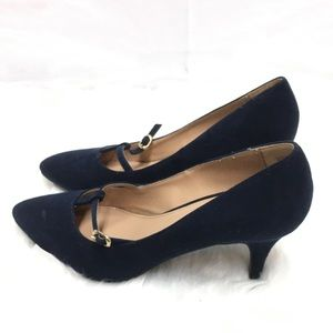 Fioni Navy Blue T Strap Heels Size 10M